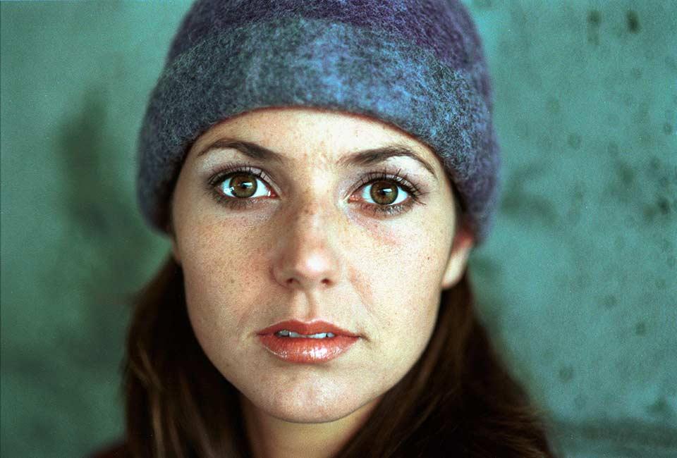 Porträttfoto, närbild av kvinna